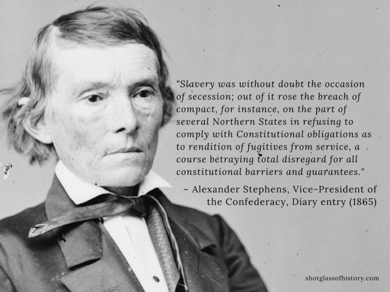 Alexander H. Stephens Quote on Slavery and Secession
